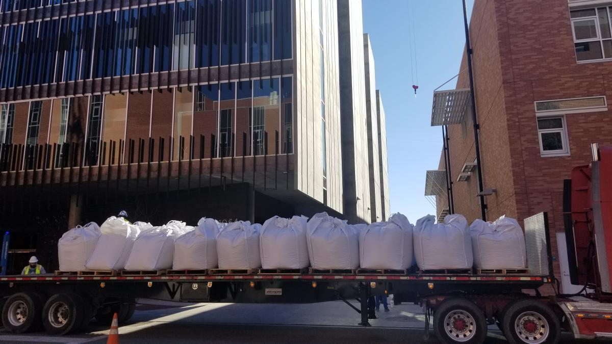 Bags of soil for the ENR2 rooftop garden