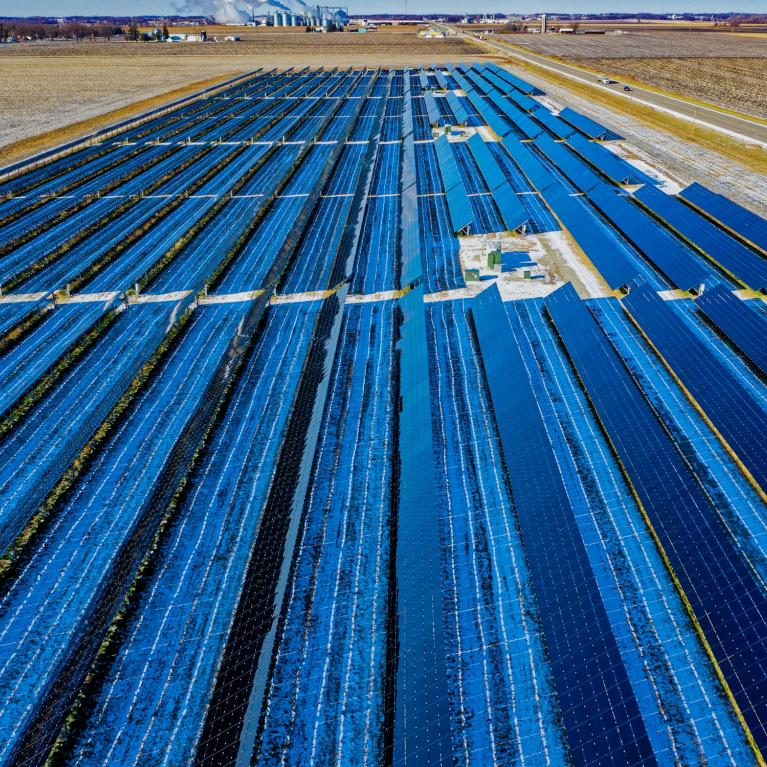 Solar panels in a desert field